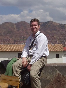 I am apparently horribly sunburned in this photo taken in Cusco at Plaza San Blas.