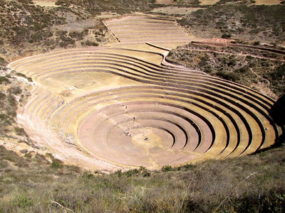 Even though it is mostly circular, the terraces continue with other shapes.