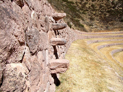 The steps were made from wide stones sticking out of the terraces.