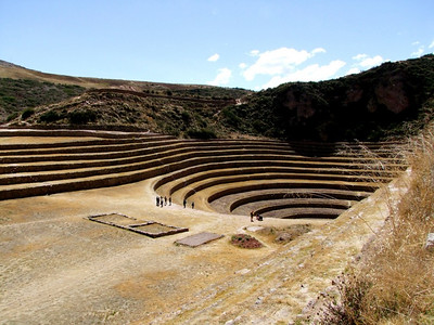 At the landing of the circular terraces are the remains of a small house.
