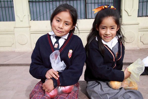 5145 Some of the school kids in Cusco have to wear school uniforms.