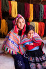 Pisac 3730<br /> Brother and sister with dyed wool for sale.