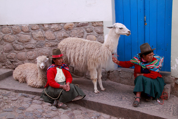Cusco 3580<br /> A couple of ladies with Alpacas in Cusco.