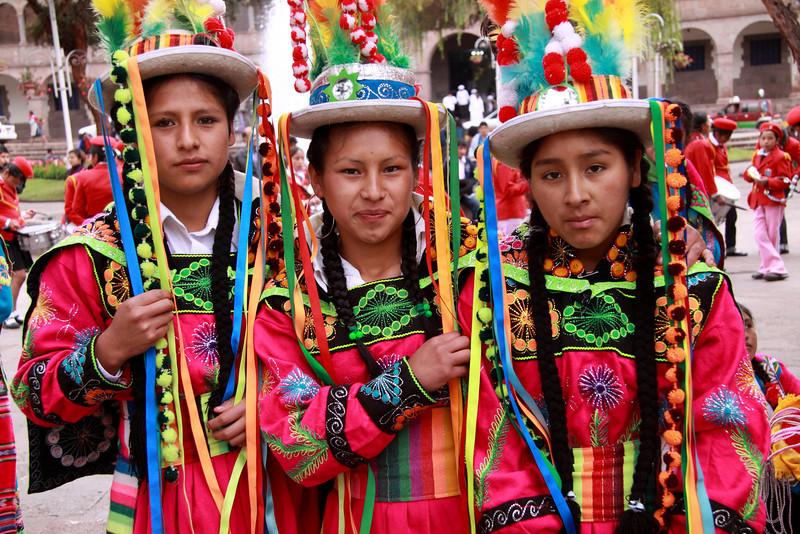 Cusco 5055<br /> School girls getting ready for a Parade around the Plaza De Armas.
