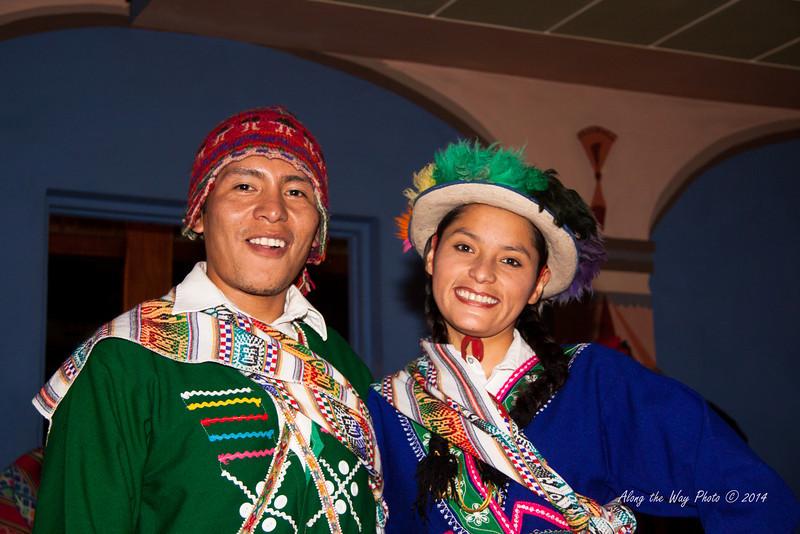 Cusco 3417<br /> Dancers at a café in Cusco.