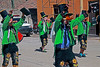 The dancers have the right of way in the streets when they parade to the village square.