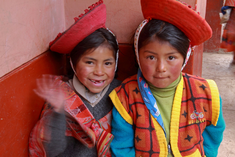 Willoc School 4717<br /> Two little girls posing for a picture. All the kids like to see their pictures afterwards and were very excited to get their pictures taken.