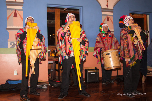 Cusco 3411<br /> Band playing at a café in Cusco.
