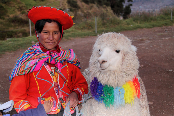 Cusco 3612<br /> Lady with Alpaca along the road by Cusco.