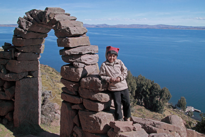 Titicaca 3734<br /> Archway leaving the village on Taquile Island looking out over Lake Titicaca.