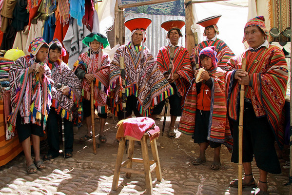 Pisac 3996<br /> On Sunday the chiefs from the surrounding villages would come to Pisac and gather in the Market place and pose for pictures for tips. They would then parade to church and in the afternoon use the tip money to drink on.