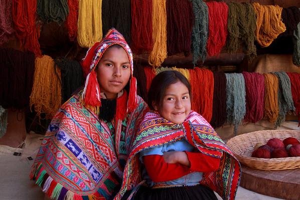 Pisac 3734<br /> Brother and Sister at the Awana Kancha weaving cooperative market