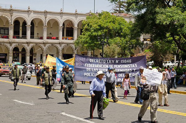 Protesters in the streets of Arequipa, Peru