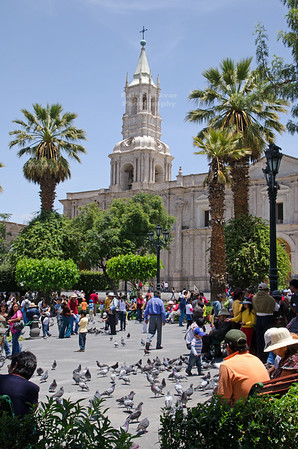 Plaza de Armas, the main square in Arequipa, Peru, with the cathedral, made of white sillar, in the background