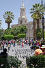 Plaza de Armas, the main square in Arequipa, Peru, with the white sillar cathedral in the background