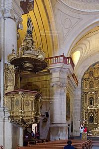 The beautifully carved pulpit in the Jesuit church La Compañía de Jesús, Arequipa, Peru
