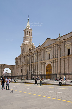 The Basilica Cathedral on Plaza de Armas in Arequipa, Peru. The left tower was destroyed during the 2001 earthquake and rebuilt already a year later