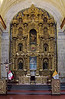 The gilded main altar in the church La Compañía de Jesús, Arequipa, Peru, is the work of master sculptor Juan de Salas, who used 447 pieces of cedar and oak, alder and some 21 sticks of willow and lloque.