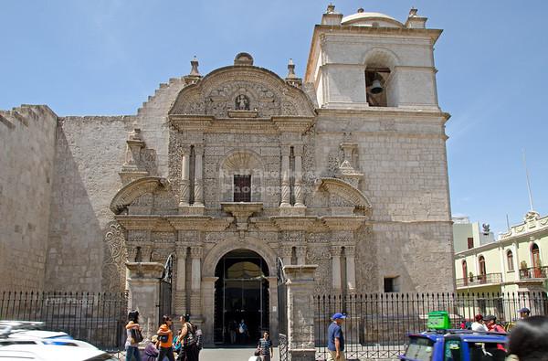 Facade of the Jesuit Church La Compañía in Arequipa, Peru