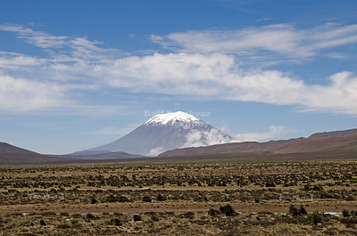 El Misti (5,822 m or 19,101 ft above sea level), also known as Guagua-Putina is a stratovolcano located in southern Peru near the city of Arequipa