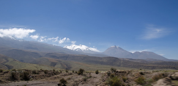 Snow capped mountains in the highlands near Arequipa, Peru