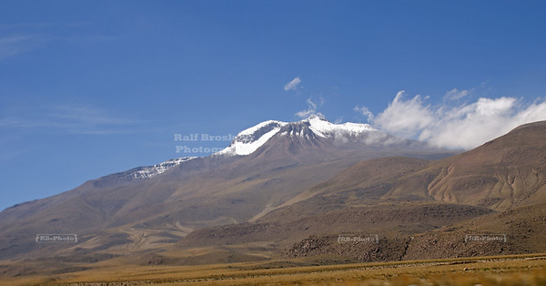 Snow capped Andes mountains in the highlands near Arequipa, Peru