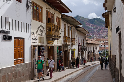 Typical street near the center of Cusco, Peru