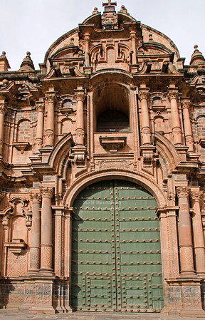 One of the massive entrance portals to the Cathedral of Cusco, Peru