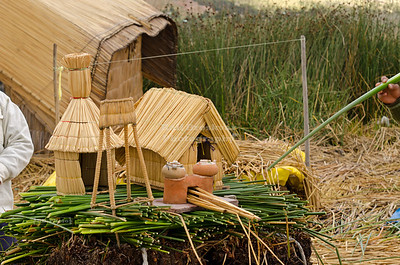 A demonstration to show how the Uros people build their and maintain their floating reed islands, Lake Titicaca, Peru