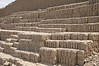 Study of the adobe bricks that build up to form the mud Pyramid Huaca Pucllana in the Miraflores district of Lima, Peru