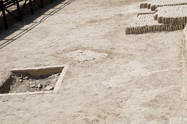 Excavated tombs at the base of Huaca Pucllana, Miraflores, Lima, Peru