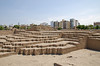 The archaelogical complex Huaca Pucllana with modern condominium buildings in the background, Miraflores, Lima, Peru