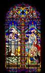 Stained Glass Window in Iglesia de la Virgen Milagrosa (Church of the Miraculous Virgin), Miraflores, Peru, depicting 2 of the miracles of Jesus: Jesus calming the storm (Jesus Serenando La  ...