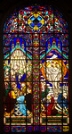 Stained Glass Window in Iglesia de la Virgen Milagrosa (Church of the Miraculous Virgin), Miraflores, Peru, depicting two scenes of the canonical gospels: The Coming of the Holy Spirit (Veni ...
