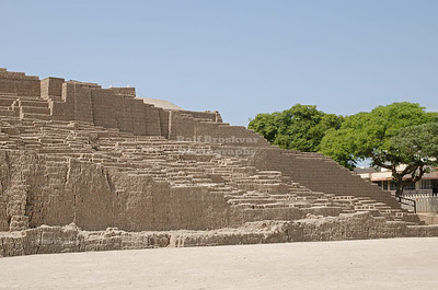 Plaza in front of the adobe pyramid of Huaca Pucllana, Miraflores, Lima, Peru