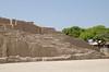 Plaza in front of the adobe pyramid of Huaca Pucllana, Miraflores, Lima, Peru
