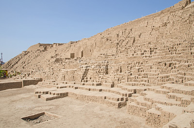 The Archaeological Complex Huaca Pucllana; the closed hole in the ground next to the square is a burial place where a sacrificed child was found.
