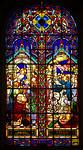Stained Glass Window in Iglesia de la Virgen Milagrosa (Church of the Miraculous Virgin), Miraflores, Peru, depicting two scenes of the canonical gospels: Eucharist Supper (Cena Eucaristica) ...