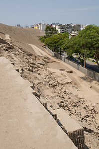 Back side of the archaeological complex Huaca Pucllana, Miraflores, Lima, Peru. Not too long ago the pyramid was abused as a motocross race track.