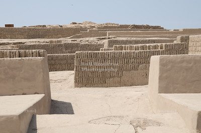 Adobe brick walls and tables believed to be sacrificail platforms on the upper levels of Huaca Pucllana, Miraflores, Lima, Peru