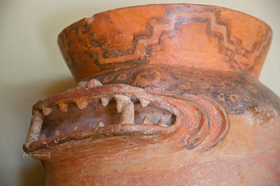Clay pot of the Wari Culture where the handles depict the head of a shark, Huaca Pullanca, Miraflores, Lima, Peru
