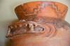 Clay pot of the Wari Culture where the handles depict the head of a shark, Huaca Pullanca, Miraflores, Lima, Peru