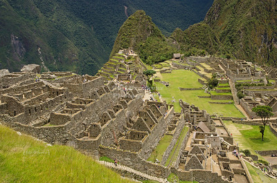 The ruins of the Inca Site of Machu Picchu, Peru, a UNESCO World Heritage Site and one of the New Seven Wonders of the World