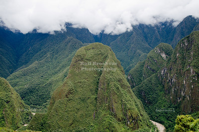 View from Machu Picchu to the Putucusi (Happy Mountain), just across the Urubamba river