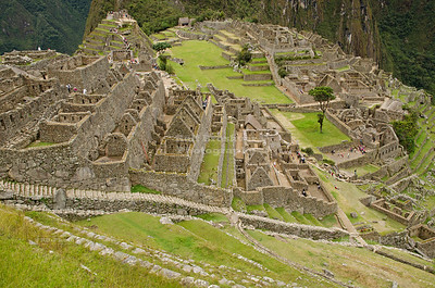 The ruins at the Inca Site of Machu Picchu, Peru, a UNESCO World Heritage Site and one of the New Seven Wonders of the World