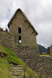 Two-story building at the ancient Inca site of Machu Picchu, Peru.