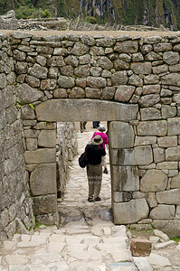 The main gate at the Inca site of Machu Picchu, Peru