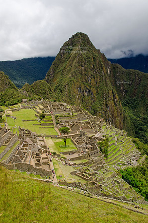 Typical Machu Picchu shot with the Wayna Picchu mountain towering over the scene in the background