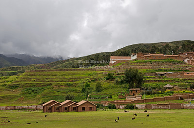 Looking up to the Inca terraces at Chinchero, Peru