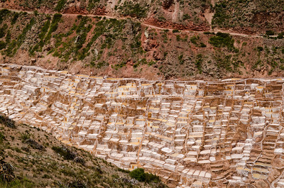 View from the access road down to the salt mines at Maras (Salineras de Maras), Peru